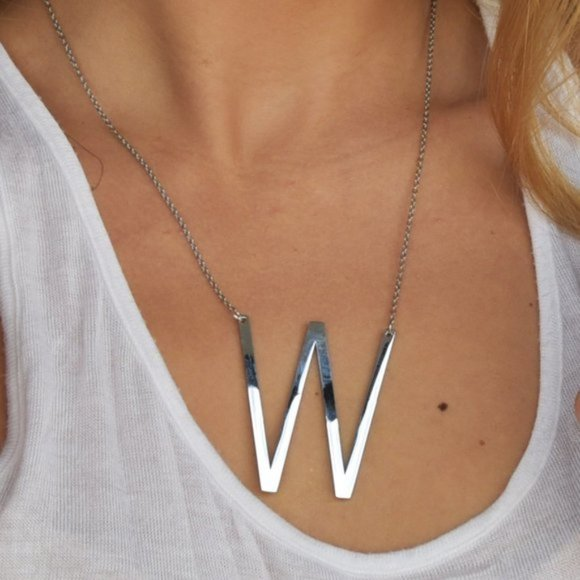 FP Letters W Necklace Jewelry Silver